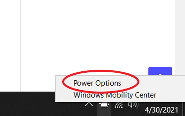 Pilih Power Option